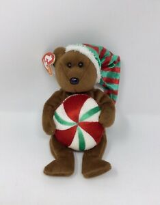 Ty Beanie Baby Yummy Holiday Christmas Peppermint Bear Plush NWT
