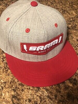 """all RED trucker style with snapback Sram baseball cap /""""since 1987/"""""""