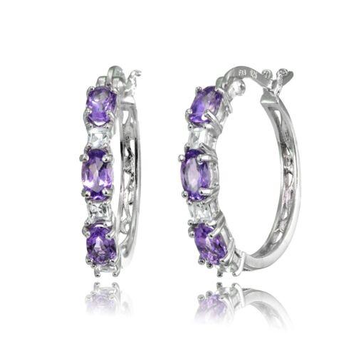 Oval Amethyst /& Princess-Cut White Topaz Filigree Hoop Earrings in 925 Silver