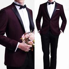 Custom Burgundy Jacket Black Pants Mens Wedding Suits Groomsman Tuxedo 2 PC Suit