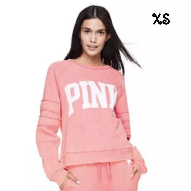 NEW Victoria's Secret PINK University Relaxed Fit ✨XS✨ Crew in Tropical Pink