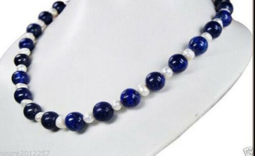 """8 mm naturel égyptien bleu Lapis Lazuli /& réel blanc perle Colliers 18//25//50//65/"""""""