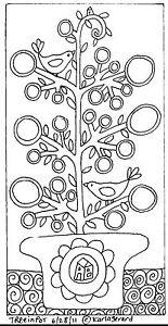 RUG-HOOK-CRAFT-PAPER-PATTERN-Tree-In-Pot-FOLK-ART-ABSTRACT-PRIM-Karla-Gerard