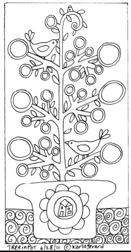 RUG HOOK CRAFT PAPER PATTERN Tree In Pot FOLK ART ABSTRACT PRIM Karla Gerard
