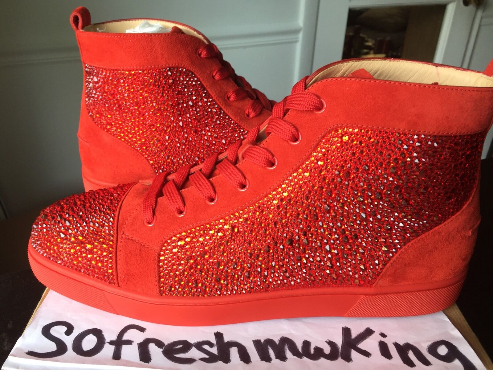 Christian Louboutin Men's Red Pavot Suede Custom Strass Sneaker Sz 47 !