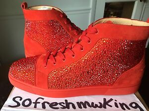 watch 81eb9 0759e Details about Christian Louboutin Men's Red Pavot Suede Custom Strass  Sneaker Sz 47 !