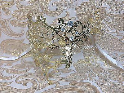 Gold Phantom Filigree Laser Cut Half Venetian Masquerade Halloween Mask