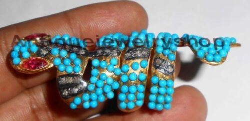 0.84ct ANTIQUE ROSE CUT DIAMOND SILVER TURQUOISE RUBY SNAKE WEDDING VINTAGE RING