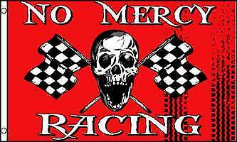 No Mercy Racing Skull Checkered 3x5 Polyester Flag