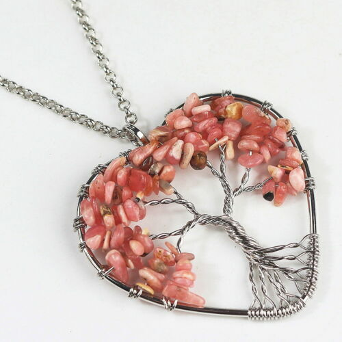 Natural Gemstones Chips Reiki Chakra Tree of Life Silver Heart Pendant Necklace