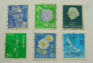 postage stamps bulk lot of 6 different stamps various countries exc