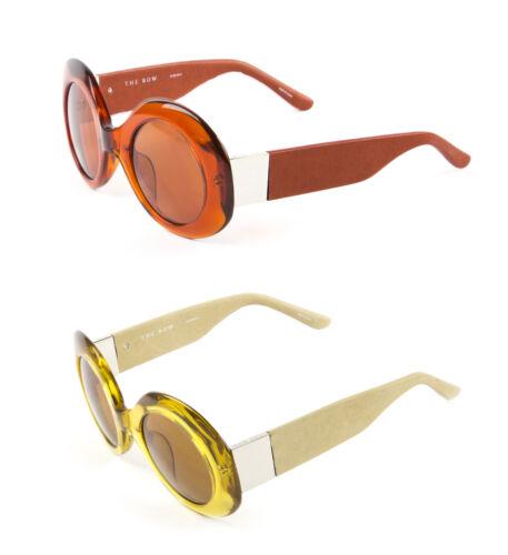 LINDA FARROW Women/'s Ochre//Taupe Leather Round Sunglasses 48C4 NEW