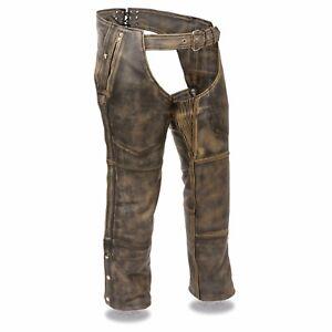 Homme-Cuir-Marron-Vieilli-4-poches-Thermique-Double-Moto-Chaps-MLM5500