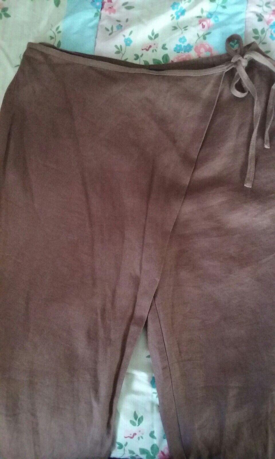 somewhere la rotoute Boho lagenlook wrap over hazel braun linen trousers 12
