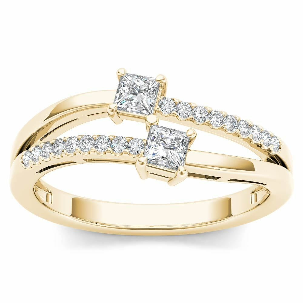 14K Yellow gold 0.33 Ct TDW Princess Diamond Engagement Ring