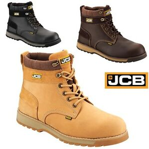 be940c059 JCB MENS S3 LEATHER SAFETY WATERPROOF WORK BOOTS STEEL MIDSOLE TOE ...