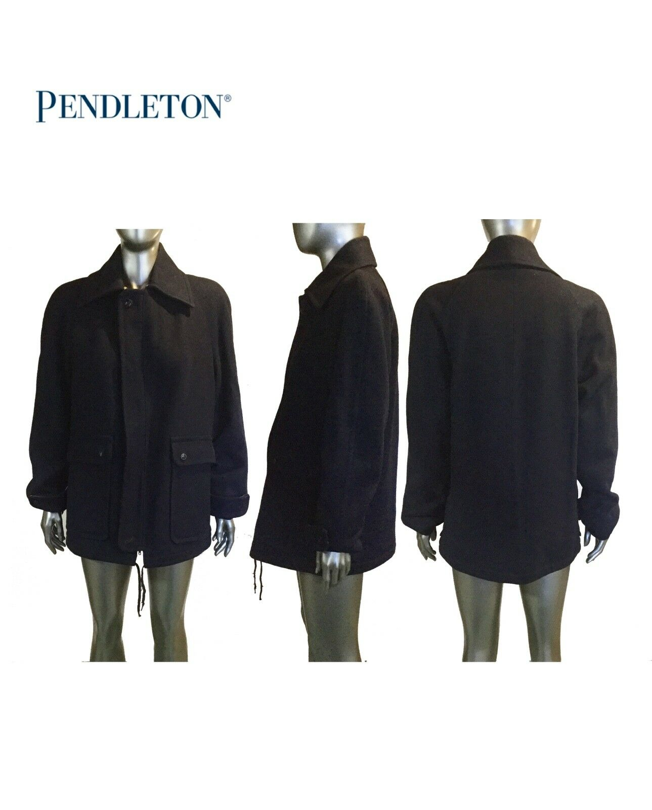 Vintage Pendleton Coat, Col Navy, With Plaid lining, Größe 20 inches/ 28.5 inches