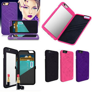 Flip Mirror Hard Cases With Wallet Card Holder Stand Cover For