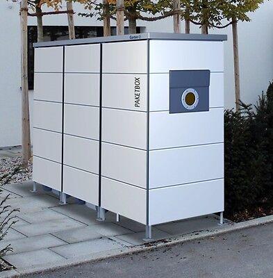 Mülltonnenhaus mit Paketkasten, Mülltonnenbox mit Paketbox, 2-3 Tonnen, Müllbox