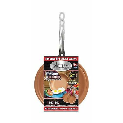 "Gotham Steel 2 Pack - 9.5"" and 8.5"" Fry Pan Set with Non-Stick Copper Coating!"