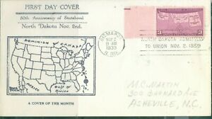 US -FDC.858 NORTH DAKOTA 50th ANNIV. USA.CANCEL.BISMARCK  N.DAK.NOV 2-1939 ADDR.