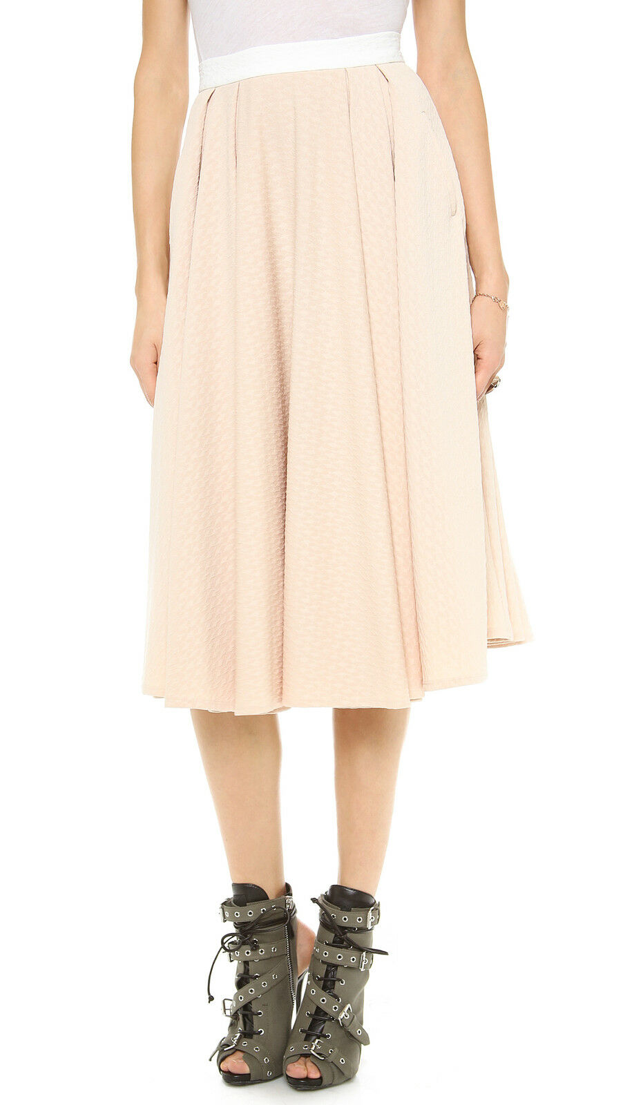 NWT Torn by Ronny Kobo May in Toasted Almond Textured Pleated Midi Skirt XS  248