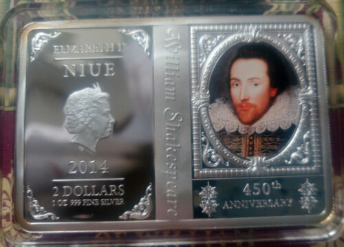 Niue 2 dollar 2014 Poet Shakespeare 450 years  Silver 1 oz  booklet   №2