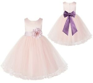 Blush Pink Flower Girl Dress Wedding Pageant Dress Birthday Girl