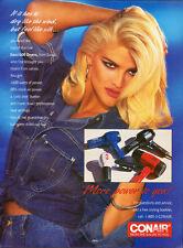 1993 Print ad for Conair Hair Dryer/Anna Nicole Smith/Jean Jacket (071913)