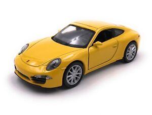 Modellino-Auto-Porsche-911-Carrera-S-GIALLO-Auto-Scala-1-3-4-39-Licenza