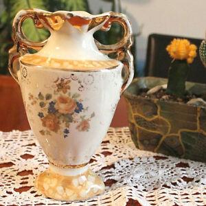 Anfore Con Fiori.Dettagli Su Vaso Anfora Con Doppio Manico In Ceramica Porcellana Bianca Fiori Oro Vintage