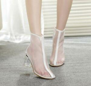 Women-Pointed-Toe-Mesh-Transparent-Chunky-High-Heel-Shoes-Ankle-Boots-Sandals
