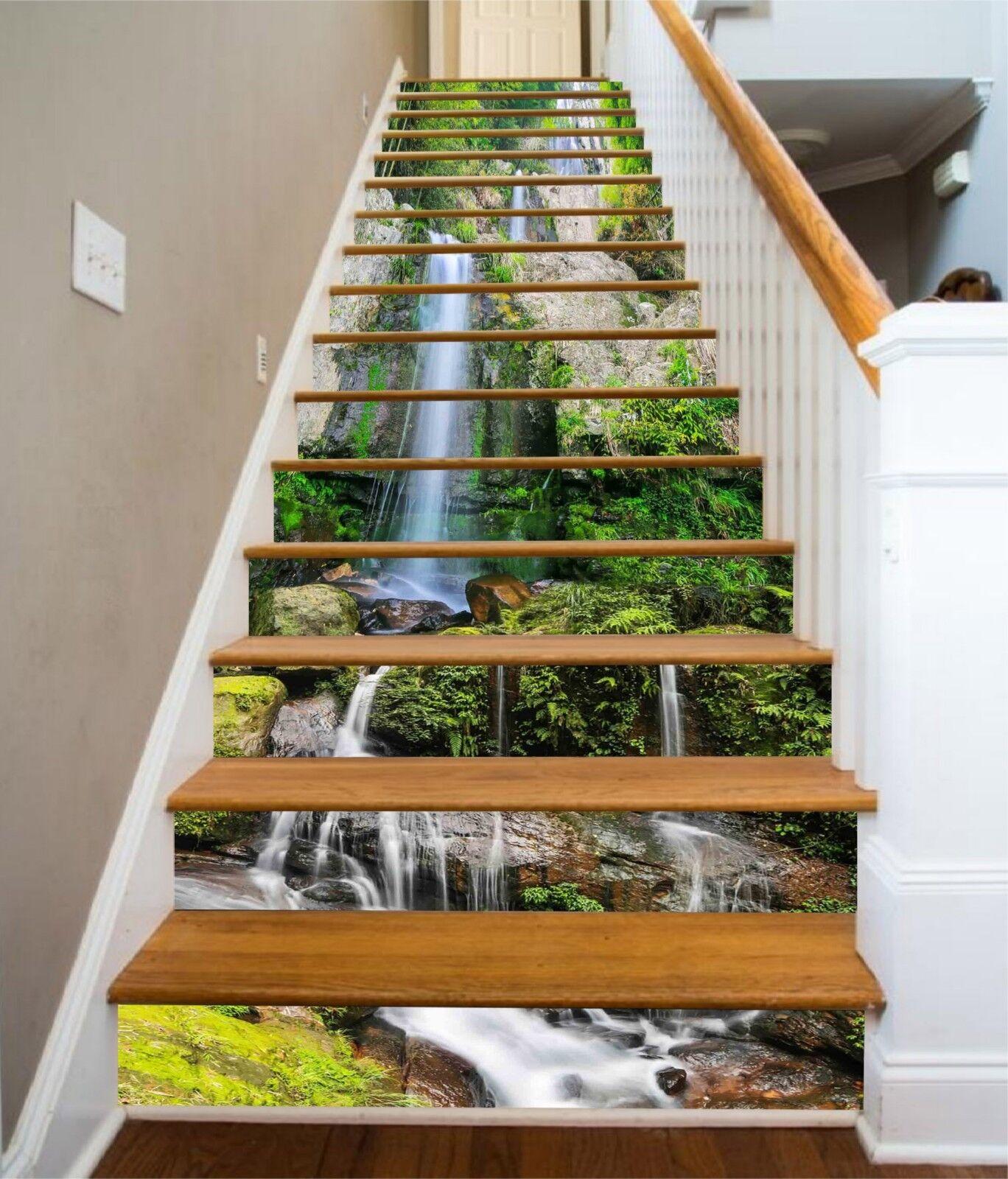 3D Steiler Fluss 09 Stair Risers Dekoration Fototapete Vinyl Aufkleber Tapete DE