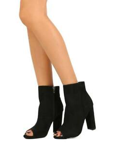 New-Women-Wild-Diva-Morris-03-Suede-Peep-Toe-Single-Sole-Block-Heel-Bootie-Size