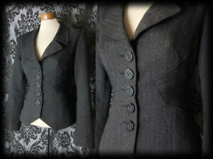 Goth-Grey-Fitted-Tailored-GRANDEUR-Victorian-Riding-Jacket-10-12-Vintage-Formal
