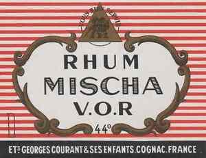"""""""RHUM MISCHA - Georges COURANT & ses Enfants Cognac"""" Etiquette litho originale HyFaWcfD-09111355-465312097"""