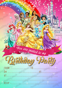 Image Is Loading Girls Disney Princess Birthday Party Invitations