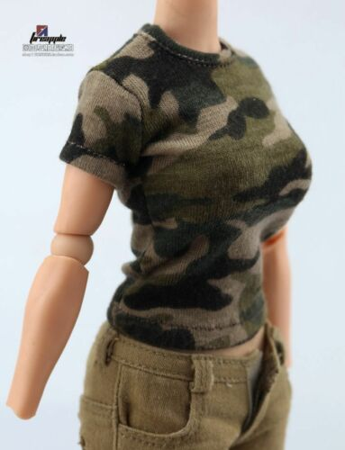 """1//6 Scale Female Camouflage T-Shirt Top Clothes Model F 12/"""" Figure Body Style A"""