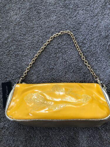 Leather Yellowamp; Sondra Clutch purse Gold handbagSr170 Roberts Nwt L5q4R3jA