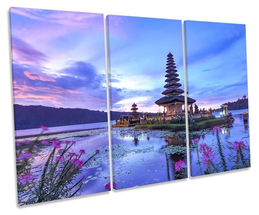 Bali Temple Indonesia Framed TREBLE CANVAS PRINT Wall Art