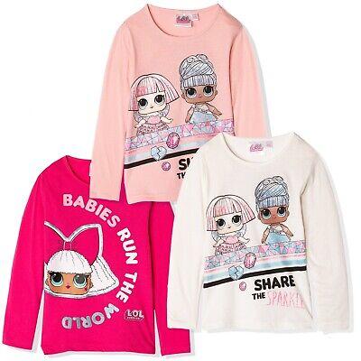 Surprise L.O.L Lol Girls Long Sleeve Top T-Shirt Glitter 100/% Cotton 4-10yrs
