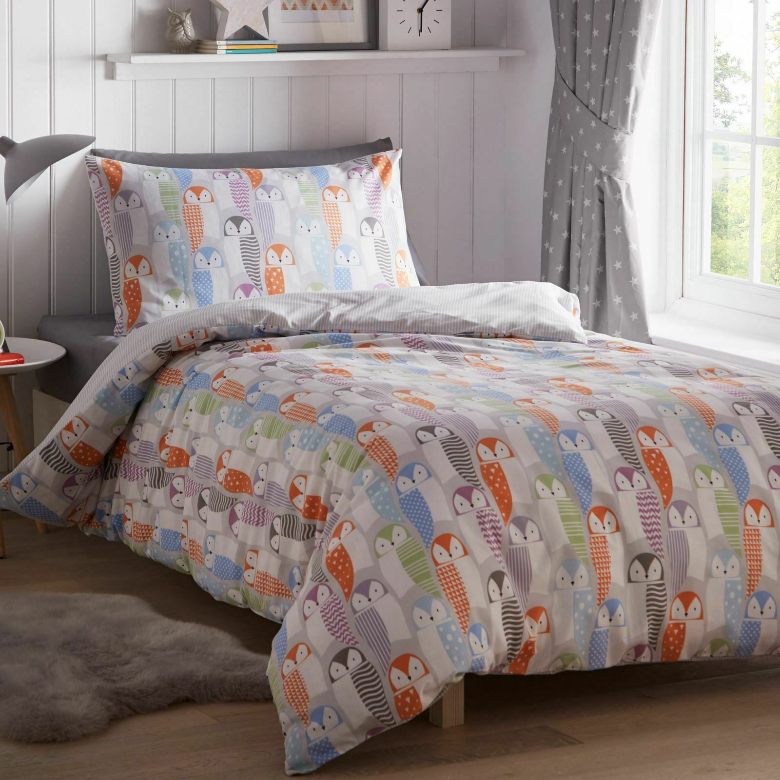 Eulen Einzelbettbezug Set Kinder Bettwäsche 2-IN-1 Designs Süß Vögel Streifen