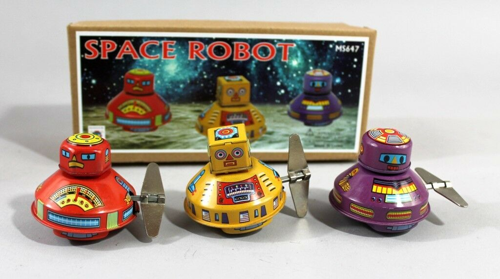 Tin Toy 3er Set Roboter-Space-Set Tin Space Science Fiction Wind Flush-Mounted