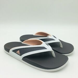 Adidas-Ladies-Adilette-Comfort-Slide-Thong-Sandals-White-Gray-Pick-A-Size-P-O