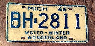 Vintage Antique Michigan License Plate- 1966