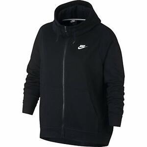 99f4ef39e75 Nike Women s Funnel Neck FZ Black Fleece Jacket Hoodie (AQ9641-010 ...