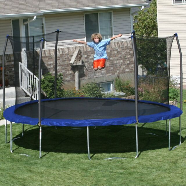 Skywalker Trampolines 15 Ft Round Trampoline With Safety Enclosure Blue
