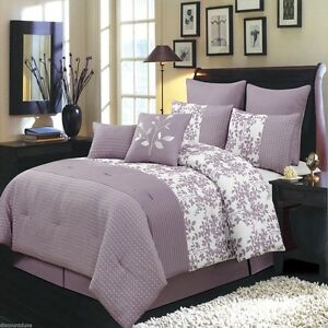 Purple-amp-White-Floral-Bliss-Bed-in-a-Bag-Comforter-Set-AND-Shams-ALL-SIZES