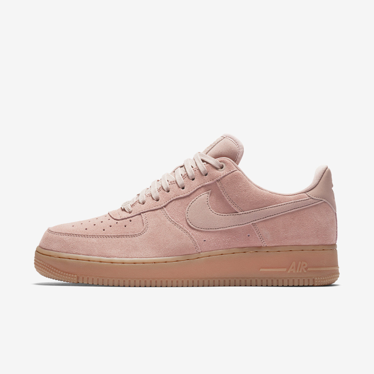 {AA1117-600} MEN'S NIKE AIR FORCE 1 '07 LV8 SUEDE SHOE PARTICLE PINK/GUM  Seasonal price cuts, discount benefits