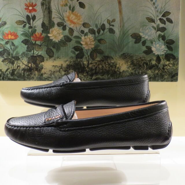 9790229e88e NWB WOMEN AUTHENTIC PRADA BLACK CALFSKIN LEATHER LOAFERS MOCCASIN SHOES  39.5 9.5